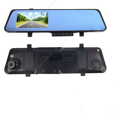 "HD 4.3"" Car Video Recorder Dash Cam Rearview Blue Anti-glary Mirror Camera DVR"