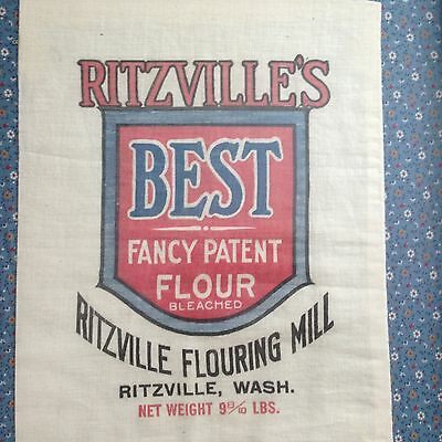 Great Vintage Ritzville's Flouring Mill Sack Net weight 9-8/10 lb Framed