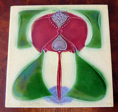 English Art Nouveau Tile- Impressed Majolica -Cleveland Tile Co- Stylized Floral