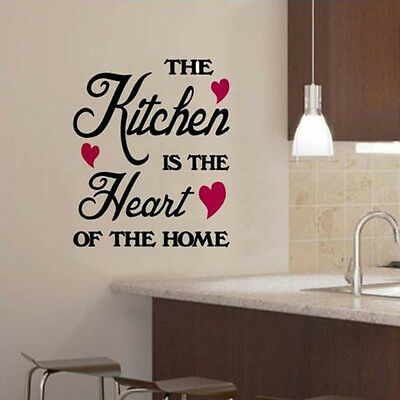 New The Kitchen Is The Heart Of The Home Wall Sticker -Art Decor Kitchen Decal
