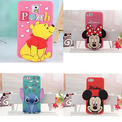 For Iphone 6plus Samsung Note 3D Disney Cute Cartoons Silicone Phone Cover Case