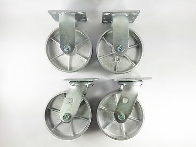 "6"" x 2"" Steel Wheel Caster - Rigid (2EA) & Swivel (2EA)"