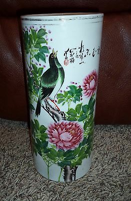 Antique Quality Porcelain Pottery Chinese Asian Hat stand Vase Bird Florals EXC