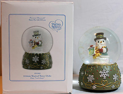 Precious Moments Snowglobe With Box! 121105 Snowman Water Globe Let It Snow RARE
