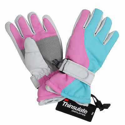 Kids Skiing Gloves Girls Waterproof Thinsulate Winter Warm Snow Mittens