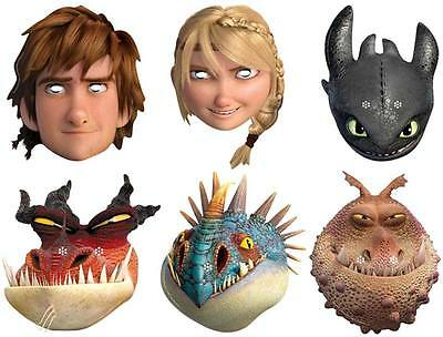How To Train Your Dragon 2 Variety 6 pack Card Fun Face Masks with Hiccup Astrid