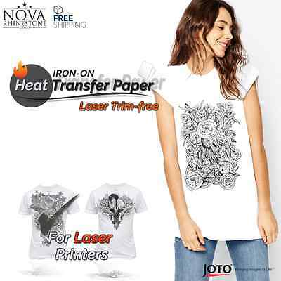 "Laser Iron-On TRIM FREE Heat Transfer Paper Light fabric, 100 Sheets, 8.5"" x 11"""