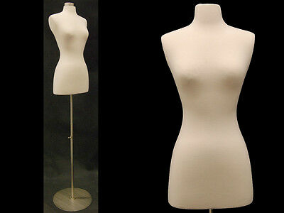 Size 2-4 Female Mannequin Dress Form+ Chrome Metal Round Base #FWPW-4 +  BS-04