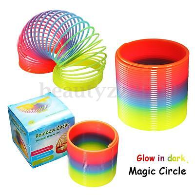 Plastic Round Rainbow Circle Coil Spring Slinky Party Kids Baby Educational Toys