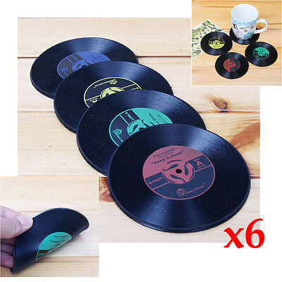 Set of 6 Retro Vinyl Record Coffee Drink Cup Mat Coasters For Music CD Player UK