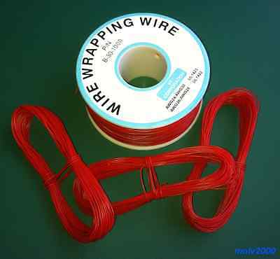 10 metros Cable AWG30 ROJO 30AWG (puentes, etc.) Rigido - WRAPPING WIRE RED B