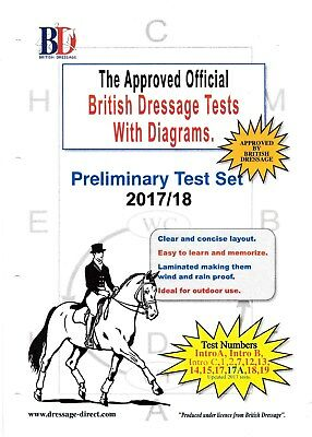 2017 PRELIMINARY Dressage Test Set with Diagrams A4 Laminated Prelim Intro A B C