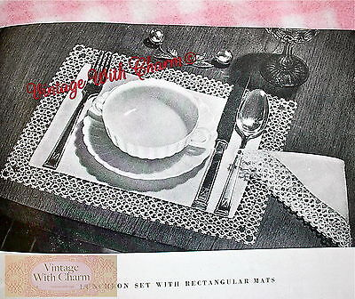Vintage Tatting Pattern For A Luncheon Set With Rectangular Place Mats.