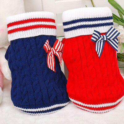 Dog Sweater Pet Winter Clothes Navy Stripe Puppy Apparel Hoodie Cat Clothing