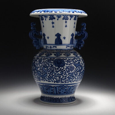 chinese style blue and white Double ear Dragon pattern vase Unique and rare