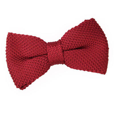New Dqt Knitted Men's Pre-Tied Bow Tie - Burgundy