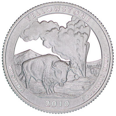2010 S Parks Quarter Yellowstone National Gem Proof Deep Cameo 90% Silver Coin
