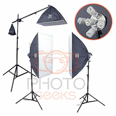 Softbox Studio Lighting Kit - 3 Continuous Lights & Boom - Photography Portrait