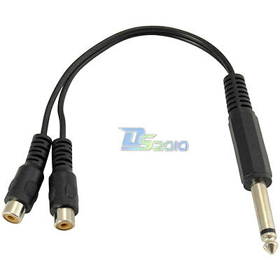 20cm 6.35mm Mono Male Plug to Dual 2RCA Female Jack Y Splitter Cable Adapter