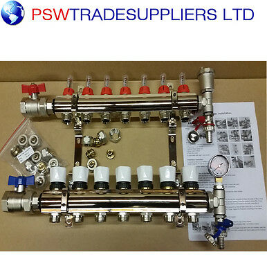 underfloor heating manifold 7 port . Pipes conectors size 16mm / 15mm
