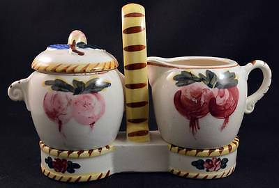 3 PC Vintage NASCO Hand Painted Japan Sugar Creamer & Caddy Stand Ceramic Set