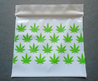 100 Green Marijuana (2x2) Small White Poly Bags (2020) Tiny Ziplock Dime Baggies
