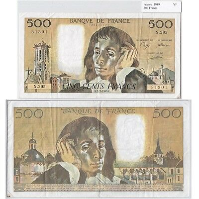 1989 500 Francs Banknote from France in Very Fine Condition.
