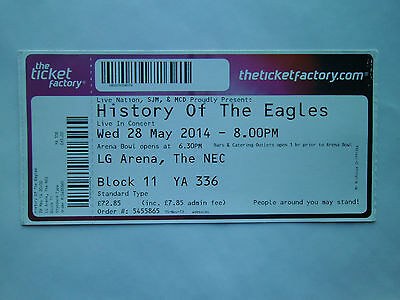 THE EAGLES MEMORABILIA - Ticket Stub(s) LG Arena Birmingham 28/05/14