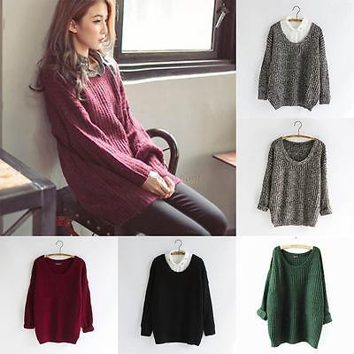 Women Warm Casual Round Neck Long Sleeve Knitted Sweater Loose Knitwear Pullover