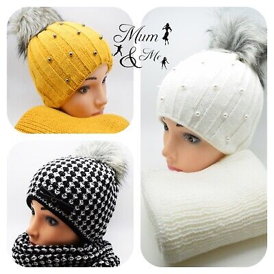 Womens Girls Knitted Hat with Scarf Cap Winter Warm Wool Fur Pom Bobble Scarf