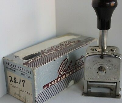 Vintage Heller ROBERTS Numbering Machines Model 95 6 Wheel with Box