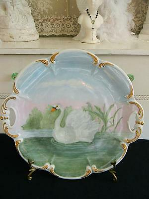 Exquisite Bavaria Tirschenreuth Germany Hand Painted Swan Cake Plate~Signed