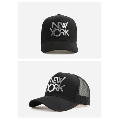 Unisex Mens Womens Metal New York Mesh Baseball Cap Trucker Snapback Hats Black