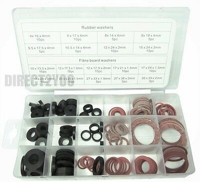 141pc Sealing Washers O Ring Tap Black Rubber Red Fibre Assorted Set +Case