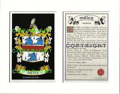 MILLER Heraldic Mount Coat of Arms Family History and Crest