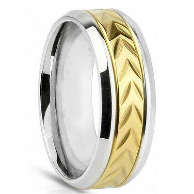 Mens Gold Inlay Yellow STAINLESS STEEL 8MM Engagement Wedding Band His Ring NEW