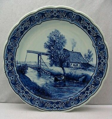 """Royal Sphinx Maastricht Large Delfts Plate Charger 12"""" Cottage Made in Holland"""