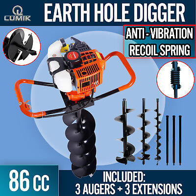 NEW 82cc Post Hole Digger Earth Auger Petrol Drill Bits Fence Borer Professional
