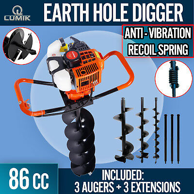 NEW 86cc Post Hole Digger Earth Auger Petrol Drill Bits Fence Borer Professional