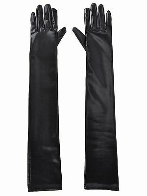 Women Black Long Evening Party Gloves Faux Leather Gloves w/ Warm Lined
