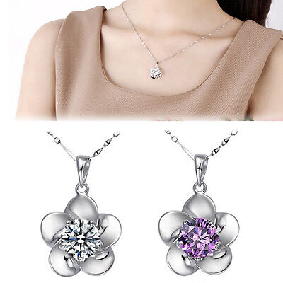 New Chic S925 Sterling Silver Flower Lady Necklace Pendant Crystal White Purple
