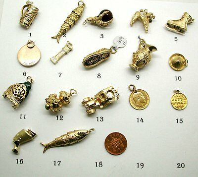 Superb  Vintage and Antique Heavy Top Quality Solid Gold Charms/Pendants