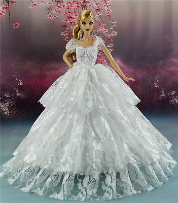 White Fashion Royalty Princess Party Dress/Clothes Gown For Barbie Doll S134W-u