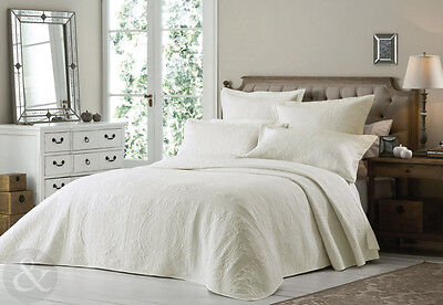 French Classic Quilted Bedspread Set with Pillow Shams - Cream ( Off White )