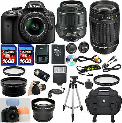 Nikon D3300 Black DSLR Camera w/ VR 18-55mm + 70-300mm G + 32GB Top Value Bundle