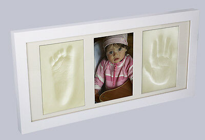 Wooden Photo Frame With Memory Prints - Baby Foot (Feet)& Hand Print Casting Kit