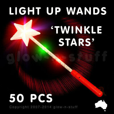50 X Flashing 37Cm Light Up Star Wand Party Led Glow In The Dark Disco Rave