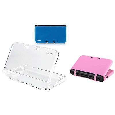 2in1 For Nintendo 3DS XL Clear Crystal Hard+Pink Case Protective Cover Pouch New