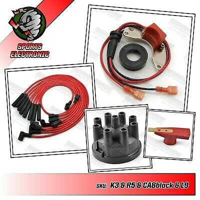 Rover V8 ignition kit with red rotor arm black cap and red 8mm HT leads