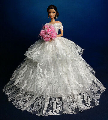 White Fashion Royalty Princess Party Dress/Clothes/Gown For Barbie Doll B134WH